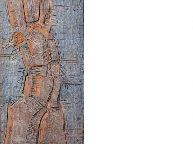 Sonnengruß - 2013 - Kiefer gefärbt - 120x70x6 cm