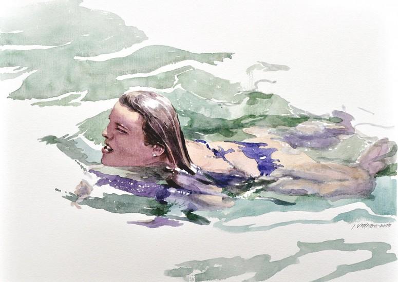 Schwimmerin - 2014 - Aquarell - 40x30 cm