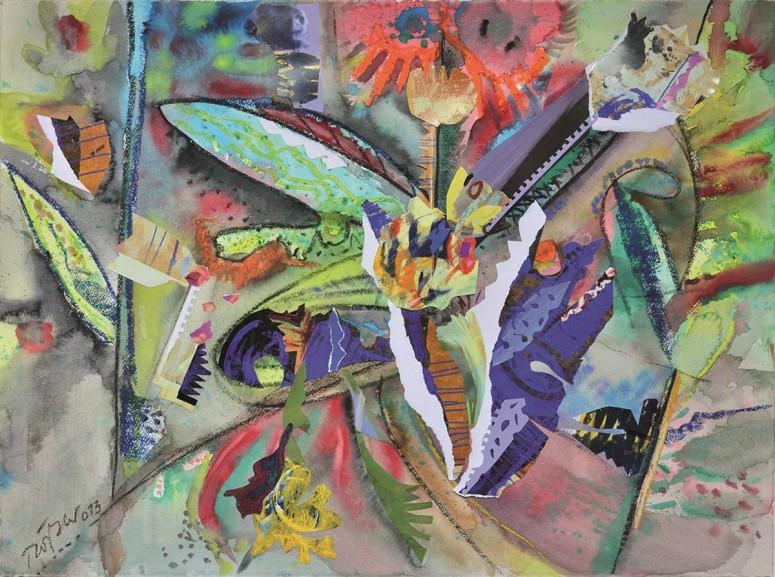 Floratonal - 2013 - Auarell-Collage-Kreide - 60x80 cm