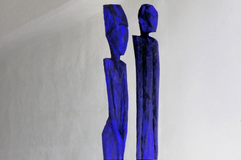 Blaues Paar - 2015 - Kiefer+Eitempera - 15x15x185 cm