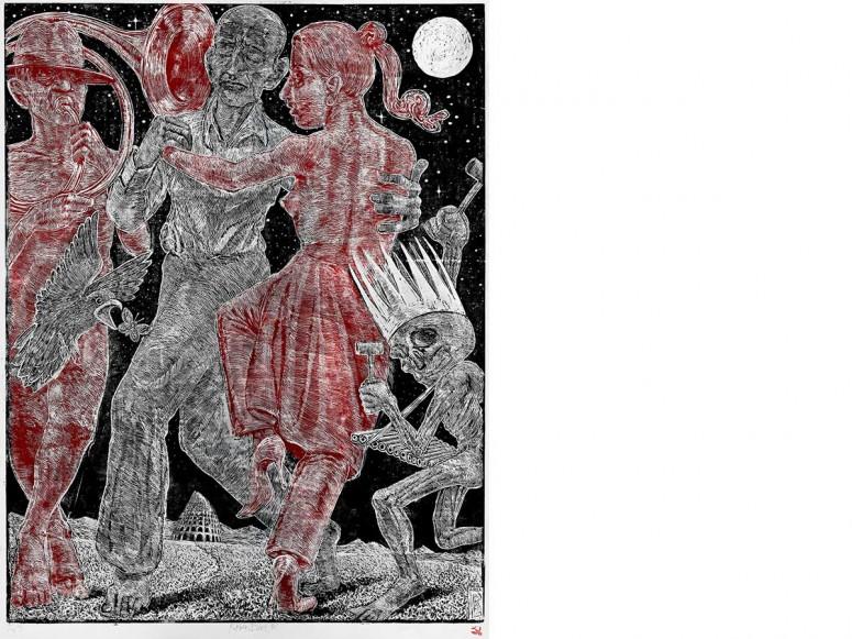 Großer Traumtanzball - 2014 - Farbholzschnitt/Auflage 8 Exemplare - 180x120 cm