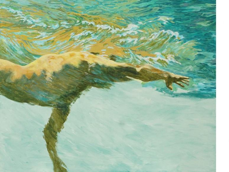 Der Schwimmer Nr.2 - 8/2015 - Acryl auf Leinwand - 80 x 100 cm