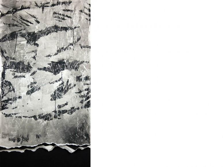 Der Sturz des Ikarus - 2015 - Pigmenttusche auf Papierbahnen, gerissen, gekratzt - 130x70 cm