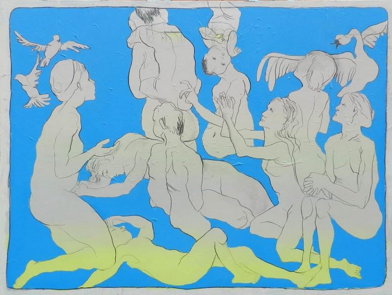 Tragendes Gewicht, Taube Zukunft, Stand ich, immer ohne dich II - 2015 - Acryl auf Leinwand - 150x200 cm