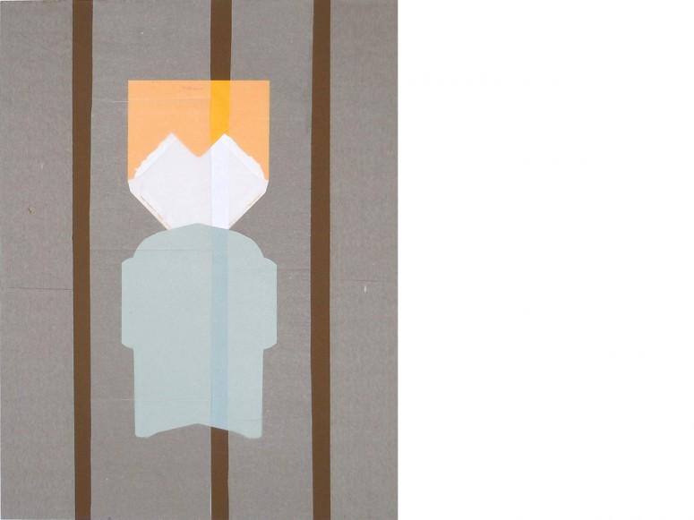 abgehoben (aus der Reihe Nichts Neues aus dem Briefumschlag) - 2013 -   Collage+benutzte Briefumschläge+Seidenpapier -85 x 65 cm