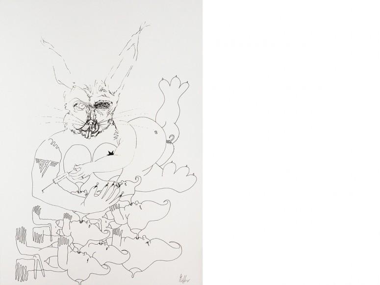 Mutter, 2015, Rapidograph auf Papier, 42x29,7 cm