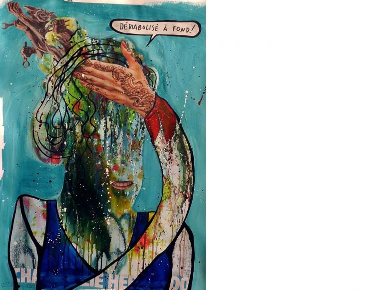Madame Fraternité, 2015, Acryl, Tusche, Ölpastell, Bleistift, Kugelschreiber, Collage auf Papier, 70x50 cm